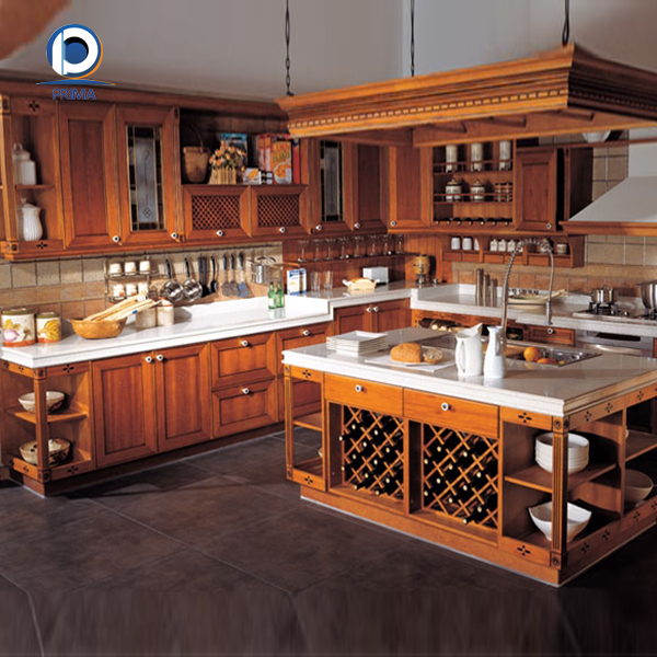 Prima European Style Solid Wood Kitchen Cabinet For Sale